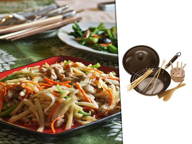 18 részes WOK készlet: 30 cm-es tapadásmentes wok fedővel és rengeteg hasznos kiegészítő!