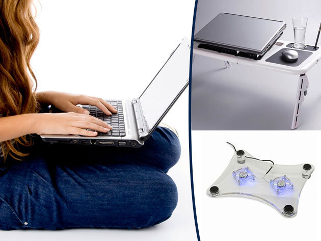 Állítható magasságú ventilátoros laptophűtő asztal és alátét!