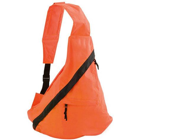 Keresztpántos táska, cipzáras zsebekkel fekete színben