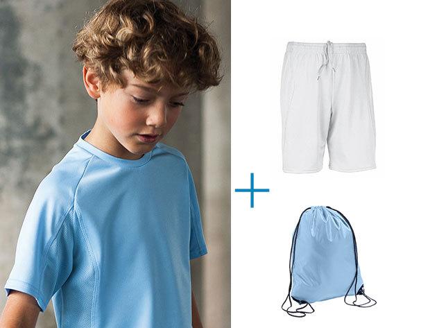 Gyermek sport póló-nadrág torna szett + névre hímzett tornazsák különböző színekben és méretekben