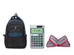 Hátizsák + 3 emeletes tolltartó + számológép – felsősősöknek