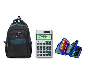 Hátizsák + 3 emeletes tolltartó (töltött) + számológép – felsősöknek