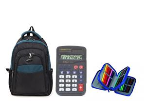 Hátizsák + 3 emeletes tolltartó (töltött) + számológép – alsósoknak