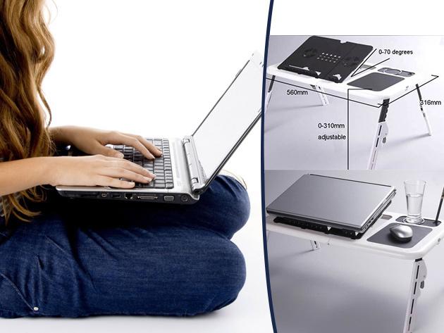 Állítható magasságú laptop tartó asztal 2 hűtőventillátorral 7.900 Ft helyett 3.590 Ft-ért!