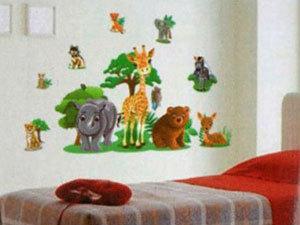 Állatos falmatrica (Az orrszarvú, a zsiráf és a maci együtt 67x48 cm, a többi állat külön is felragasztható)