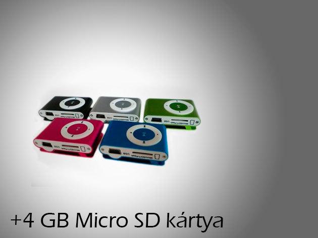 MP3 + kábel + fülhallgató+ 4GB-os Micro SD kártya