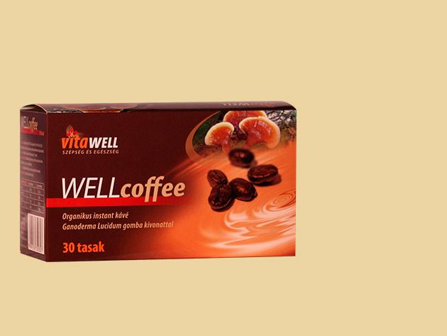 WELLcoffee, Természetes instant kávé Ganoderma gomba kivonattal (30 csomag)