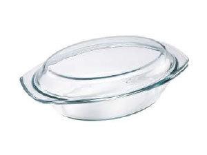 Hőálló üvegtál fedővel, ovális, 1,5 l BL-2011
