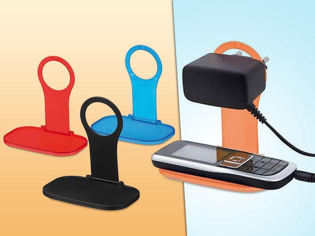 Praktikus, színes, konnektorra akasztható mobiltelefon tartó töltéshez!