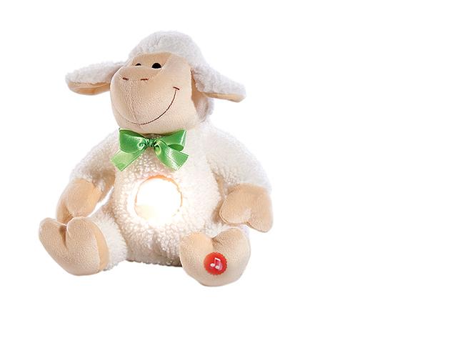Pia Plüss bárány figura éjjeli fény és altatódal funkcióval