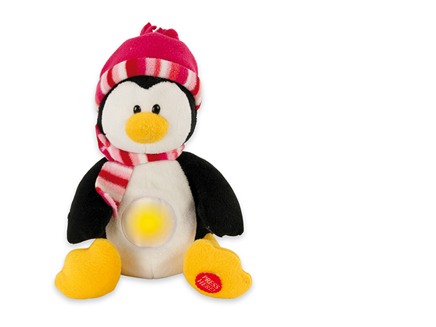 Paula Plüss pingvin figura éjjeli fény és altatódal funkcióval
