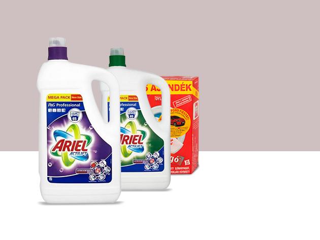 2 db Ariel Actilift 4,75l fehér vagy színes ruhákhoz + 10 db Dylon színfogókendő