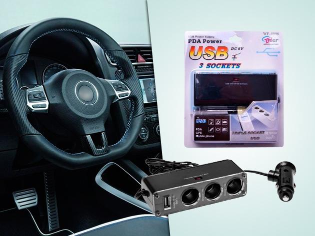 Autós szivargyújtó elosztó telefon - GPS, MP3 lejátszó, stb. töltéséhez!