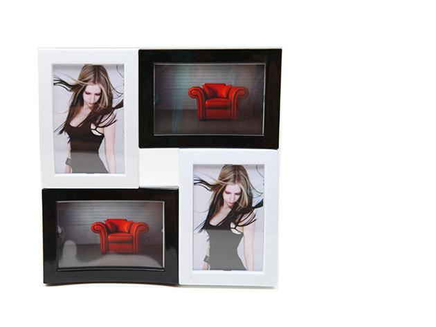Dizájnos képkeret, fekete-fehér, 4 fotó elhelyezésére alkalmas