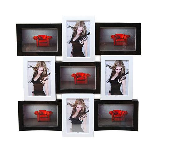 Dizájnos képkeret, fekete-fehér, 9 fotó elhelyezésére alkalmas