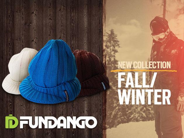 Fundango márkájú siltes kötött sapka fehér, barna és kék színben!