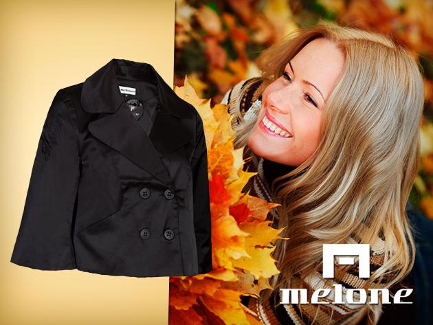"""""""A"""" vonalú elegáns szatén kabát a Melone-tól fekete és sárga színben!"""