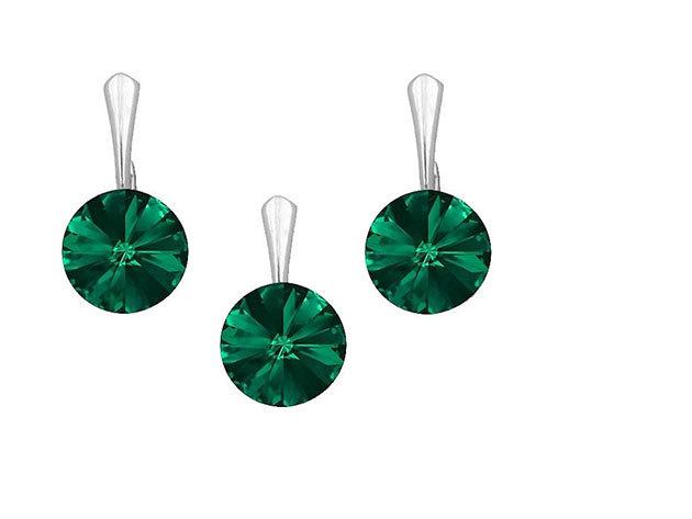 Swarovski kerek kristályos ezüst garnitúra (emerald - 12mm)