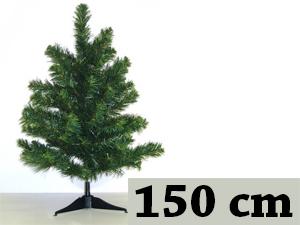 Zöld, hosszú tűlevelű, tömött (150 cm) + 8db gömb + 1db csúcsdísz