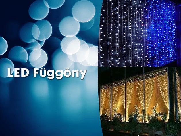 LED fényfüggöny 2 méter x 1,5 méteres méretben, a karácsony legszebb színeiben!