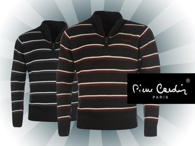 Pierre Cardin kötött, cipzáras férfi pulóver!