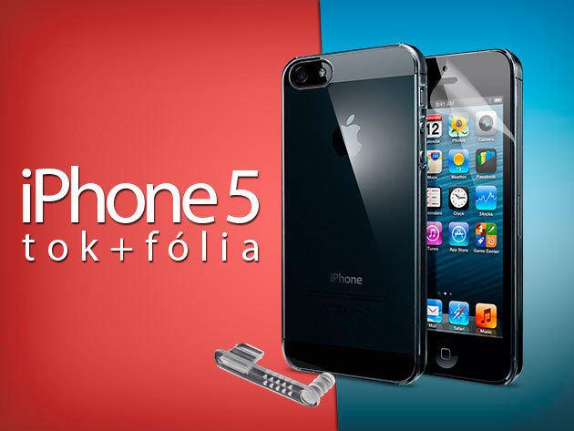 iPhone 5/5S - Extra védelem: Védőtok + képernyővédő fólia + csatlakozó védődugó!