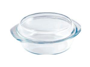 Hőálló üveg tál fedővel, kerek, 1,5 l BL-2026