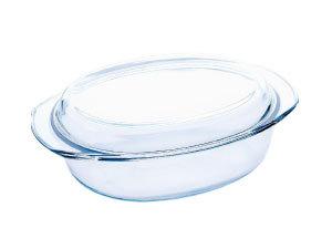 Hőálló üvegtál fedővel, ovális, 3,5 l BL-2031