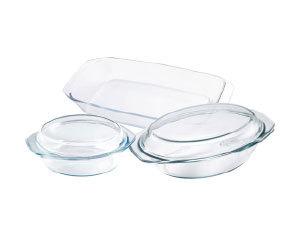 Hőálló üvegtál készlet, 5 részes BL-2018, 1,5 L kerek 2,5 L ovális 2,4 L tepsi