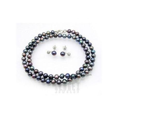 Black Pearl - Sötét lila igazgyöngy nyaklánc és fülbevaló szett CWJ-1106US