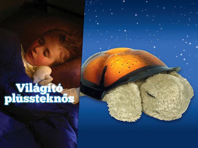 Csillagokat kivetítő plüssteknős – különleges éjszakai fény a nyugodt álomért!