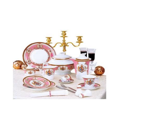 57 részes porcelán szett, Windsor, pink (DV-57010)