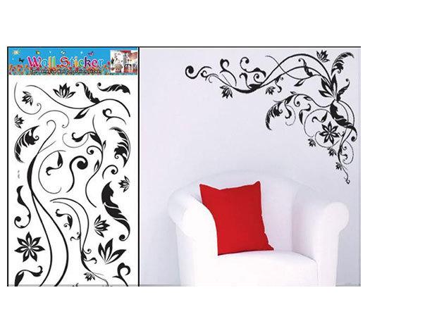 Fekete virág falmatrica (A kirakott kép vízszintes része kb 90 cm hosszú, a függőleges része kb 70 cm)