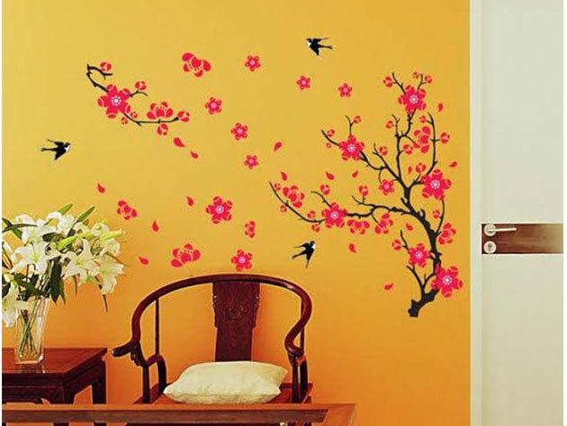 Rózsaszín ág fecskékkel falmatrica (kb. 82*55cm, a kisebb ág 32 cm hosszú)