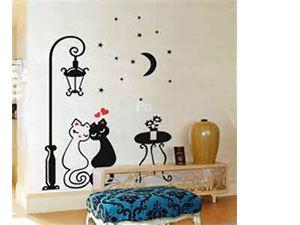 Cicapár falmatrica (A cicák kb 40 cm magasak, a kirakható lámpa magassága kb.120 cm)