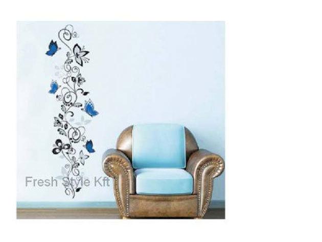 Premium kék pillangók falmatrica (A matricának nincs fehér szegélye, csak a mintát látod majd a falon. kb 110 cm magas dekorációt kapsz)