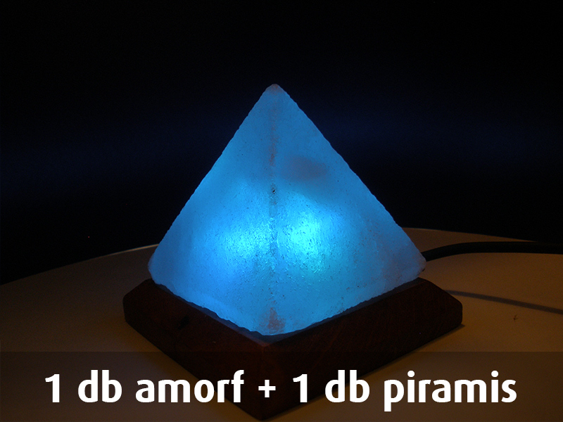 1 db amorf + 1 db piramis USB-s himalájai sókristály lámpa