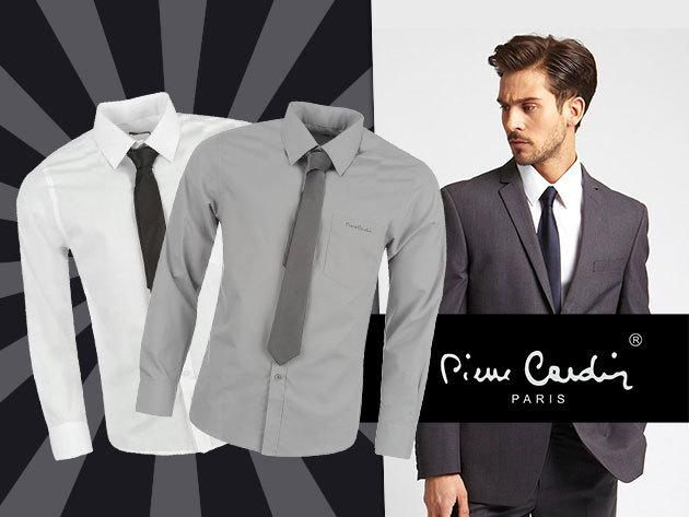 Pierre Cardin férfi ingek vékony nyakkendővel – fehér és szürke színben