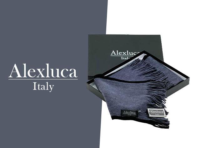 Alexluca Italy - márkás, elegáns férfi sál fekete és szürke színben