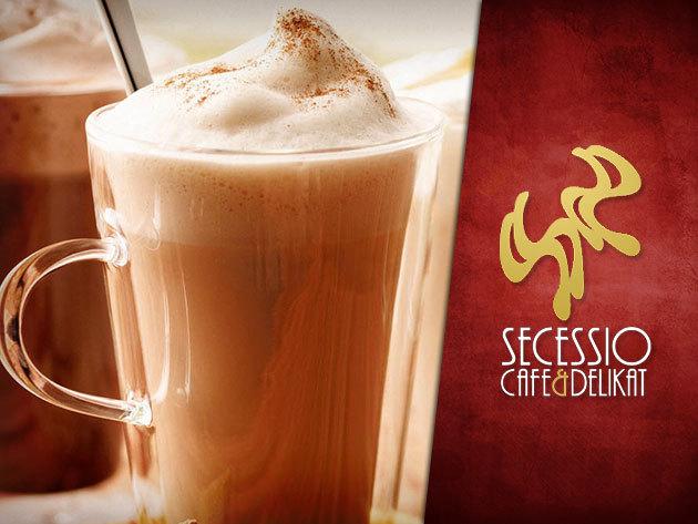 2 db Forró csoki vagy ízesített Latte machiatto + 2 db házi sütemény a Secessio Cafe-ban!