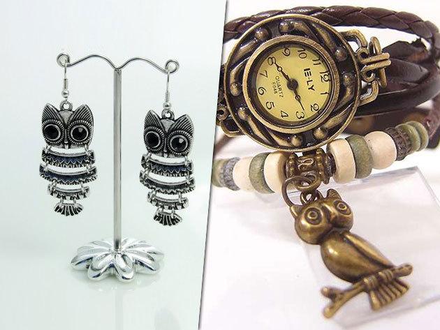 Baglyos és Eiffel tornyos ékszerek, karkötőként viselhető órák