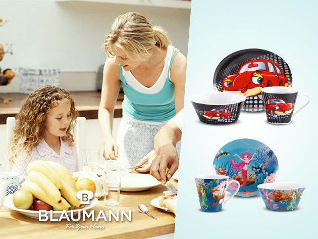 3 részes, mintás porcelán reggeliző szettek gyermekeknek a Blaumanntól