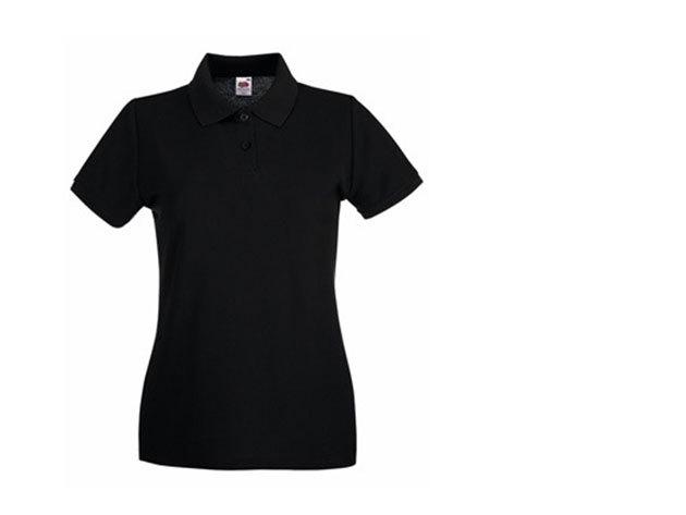 Női karcsúsított piké póló - fekete