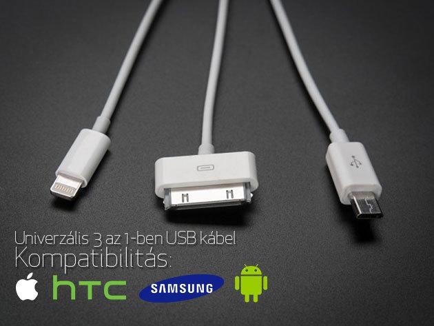 3 az 1-ben univerzális töltő kábel iPhone-hoz, tablethez, Samsung és HTC okostelefonokhoz