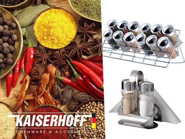 Blaumann fatokos sószóró és borsőrlő, valamint Kaiserhoff fűszertartók