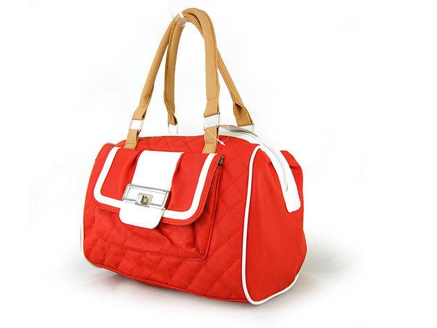 Női steppelt táska / Nicole - piros