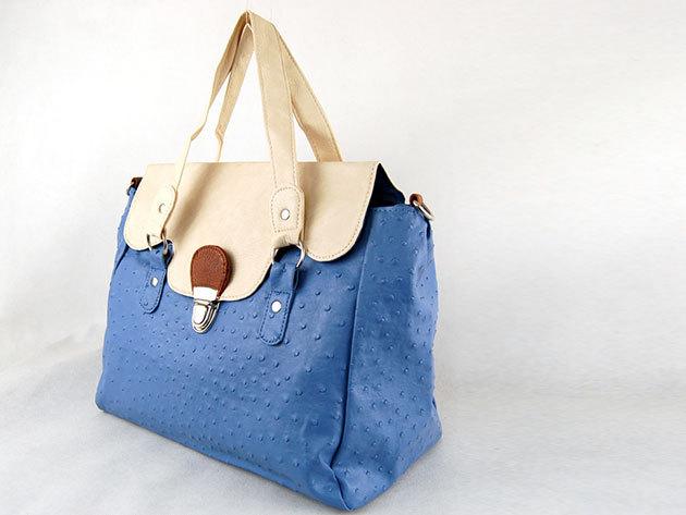 Csatos táska / Nicole: kék-fehér