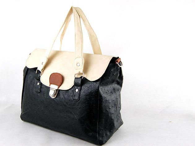 Csatos táska / Nicole: fekete-fehér