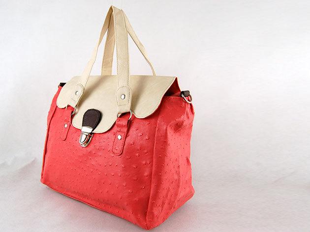 Csatos táska / Nicole: pink-fehér