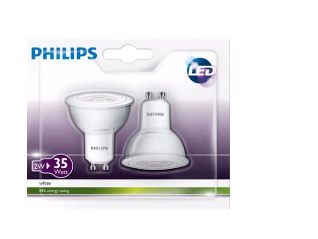 Philips 2x2W LED 3000K 50D GU10 240V DUO csomag (35W halogén izzó kiváltására)